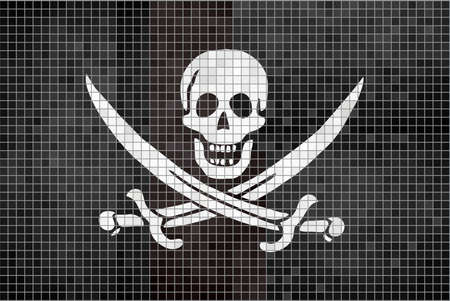 privateer: Pirate flag - Illustration,  Jolly Roger pirate mosaic textured background,  Grunge mosaic Buccaneer Flag,  Abstract grunge mosaic vector