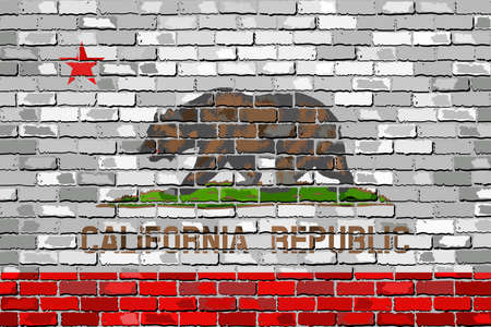 californian: Flag of California on a brick wall - Illustration,  The flag of the state of California on brick textured background,  Bear Flag painted on brick wall, Californian Flag in brick style