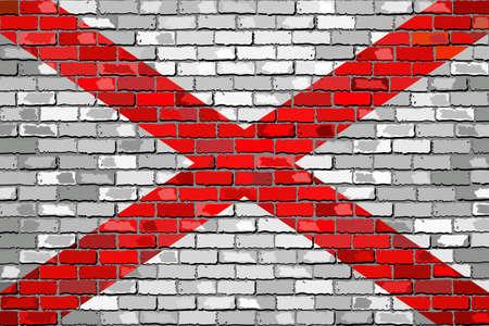 Alabama: Flag of Alabama on a brick wall - Illustration,  The flag of the state of Alabama on brick textured background,  Alabama Flag painted on brick wall, Alabama Flag in brick style