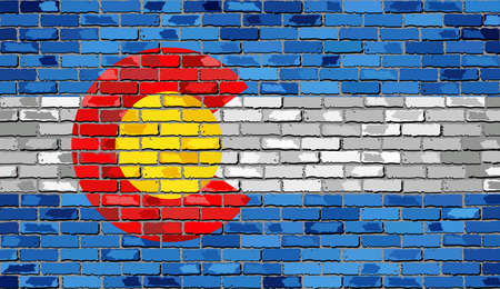 state of colorado: Flag of Colorado on a brick wall - Illustration,  The flag of the state of Colorado on brick textured background,  Colorado Flag painted on brick wall, Colorado Flag in brick style