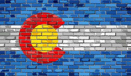Flag of Colorado on a brick wall - Illustration,  The flag of the state of Colorado on brick textured background,  Colorado Flag painted on brick wall, Colorado Flag in brick style