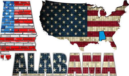alabama: USA state of Alabama on a brick wall - Illustration, The flag of the state of Alabama on brick textured background,  Alabama Flag painted on brick wall, Font with the United States flag,  Alabama map on a brick wall