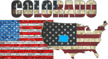 colorado flag: USA state of Colorado on a brick wall - Illustration, The flag of the state of Colorado on brick textured background,  Colorado Flag painted on brick wall, Font with the United States flag,  Colorado map on a brick wall Illustration