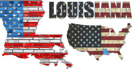 louisiana flag: USA state of Louisiana on a brick wall - Illustration, The flag of the state of Louisiana on brick textured background,  Louisiana Flag painted on brick wall, Font with the United States flag,  Louisiana map on a brick wall