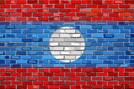 lao: Flag of Laos on a brick wall - Illustration,  Laotian flag on brick textured background,  Lao Peoples Democratic Republic painted on brick wall,  Flag of LPDR in brick style