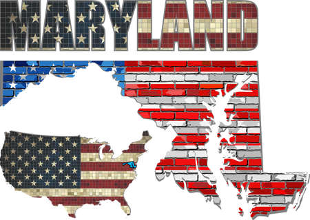 maryland flag: USA state of Maryland on a brick wall - Illustration, The flag of the state of Maryland on brick textured background,  Maryland Flag painted on brick wall, Font with the United States flag,  Maryland map on a brick wall