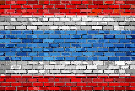 tricolour: Flag of Thailand on a brick wall - Illustration,  Kingdom of Thailand flag on brick textured background,  Thong Trairong - Tricolour Flag  painted on brick wall,  Flag of Thailand in brick style