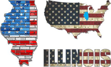 EE.UU. Estado De Ohio En Una Pared De Ladrillo - Ilustración, La ...