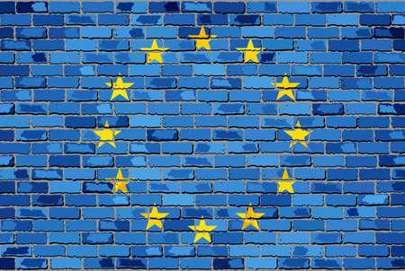 la union hace la fuerza: Bandera de Europa en una pared de ladrillo - Ilustración, bandera europea en el ladrillo con textura de fondo, la bandera de la UE pintado en la pared de ladrillo, bandera de Europa en el estilo de ladrillo, grunge bandera de la Unión Europea Resumen