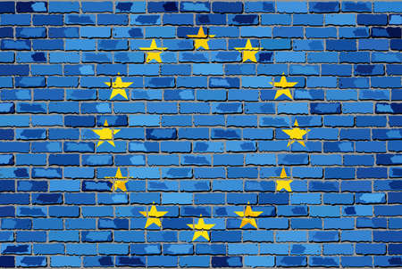 la union hace la fuerza: Flag of Europe on a brick wall - Illustration, European flag on brick textured background,  Flag of EU painted on brick wall, Flag of Europe in brick style,  Abstract grunge European Union flag