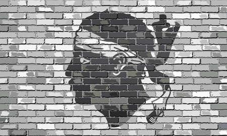 Bandera de Córcega en una pared de ladrillo - Ilustración, bandera corsa pintado en la pared de ladrillo, con la bandera de la cabeza de Maure