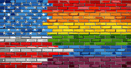 Brick Wall USA and Gay flags - Illustration, Rainbow flag on brick textured background, Flag of pride movement painted on brick wall, Abstract grunge United States of America flag and LGBT flag