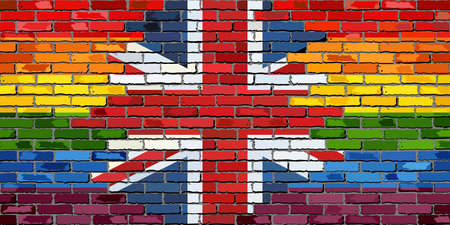 la union hace la fuerza: Brick Wall Great Britain and Gay flags - Illustration, Rainbow flag on brick textured background,  Flag of gay pride movement painted on brick wall, Abstract grunge United Kingdom flag and LGBT flag Vectores