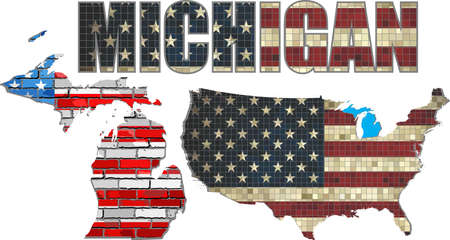 michigan flag: USA state of Michigan on a brick wall - Illustration, The flag of the state of Michigan on brick textured background,  Michigan Flag painted on brick wall, Font with the United States flag,  Michigan map on a brick wall