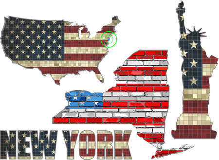 new york map: USA state of New York on a brick wall - Illustration, The flag of the state of New York on brick textured background,  Statue of liberty painted on brick wall, Font with the United States flag,  New York map on a brick wall