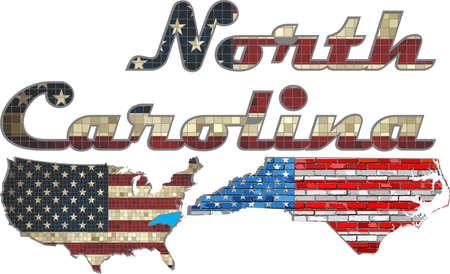 north carolina: USA state of North Carolina on a brick wall - Illustration, The flag of the state of North Carolina on brick textured background,  Font with the United States flag,  North Carolina map on a brick wall Illustration