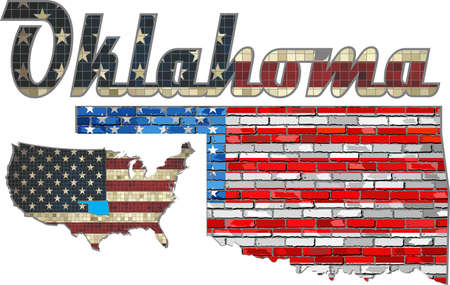 usa flags: USA state of Oklahoma on a brick wall - Illustration, The flag of the state of Oklahoma on brick textured background,  Font with the United States flag,  Oklahoma map on a brick wall