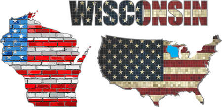 wisconsin flag: USA state of Wisconsin on a brick wall - Illustration, The flag of the state of Wisconsin on brick textured background,  Font with the United States flag,  Wisconsin map on a brick wall