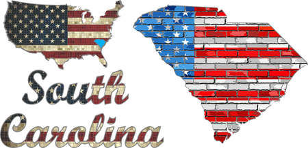 south carolina: USA state of  South Carolina on a brick wall - Illustration, The flag of the state of  South Carolina on brick textured background,  Font with the United States flag,  South Carolina map on a brick wall