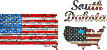 south dakota: USA state of South Dakota on a brick wall - Illustration, The flag of the state of South Dakota on brick textured background,  Font with the United States flag,  South Dakota map on a brick wall