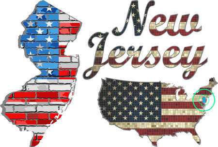 jersey: USA state of New Jersey on a brick wall - Illustration, The flag of the state of New Jersey on brick textured background,  New Jersey Flag painted on brick wall, Font with the United States flag,  New Jersey map on a brick wall