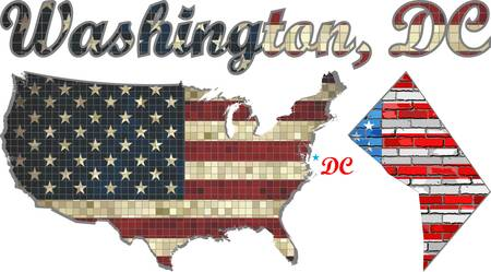 district of columbia: USA state of Washington, D.C. on a brick wall - Illustration, The flag of the state of Washington, D.C. on brick textured background,  Font with The District of Columbia,  Washington, DC map on a brick wall