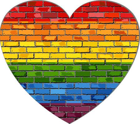 LGBT flag on a brick wall in heart - Illustration,  Symbol of gay, lesbian love,  Heart with a gay pride flag,  Gay flag button,  Gay Flag Heart Striped Sticker Иллюстрация