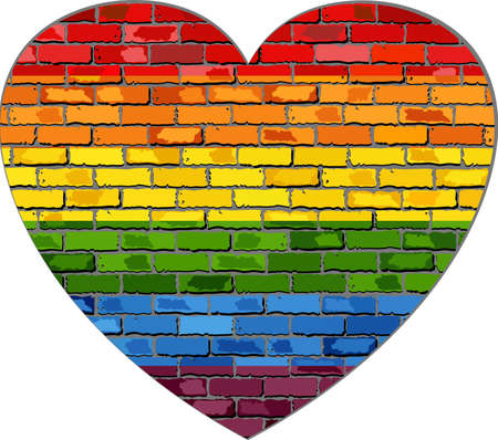 LGBT flag on a brick wall in heart - Illustration,  Symbol of gay, lesbian love,  Heart with a gay pride flag,  Gay flag button,  Gay Flag Heart Striped Sticker Illustration