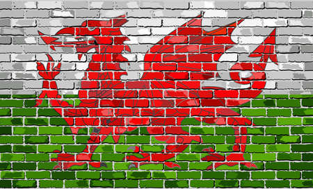 welsh flag: Bandiera del Galles su un muro di mattoni - Illustrazione, Grunge bandiera del Galles - Y Ddraig Goch (Drago Rosso), il drago gallese in stile mattoni, Abstract grunge vettore di bandiera gallese