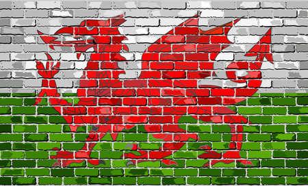 Bandiera del Galles su un muro di mattoni - Illustrazione, Grunge bandiera del Galles - Y Ddraig Goch (Drago Rosso), il drago gallese in stile mattoni, Abstract grunge vettore di bandiera gallese