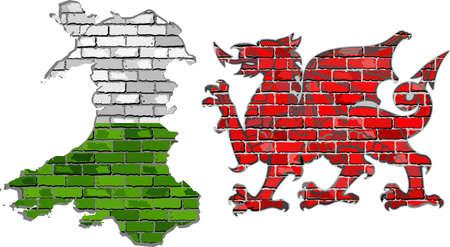 welsh flag: Galles mappa su un muro di mattoni - illustrazione, Galles mappa e il drago rosso in stile mattoni, grunge mappa e bandiera gallese su un muro di mattoni