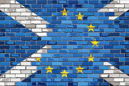 la union hace la fuerza: banderas de ladrillo de la Uni�n Europea y la pared Escocia - Ilustraci�n, abstracto del grunge de la UE y banderas escocesas Vectores