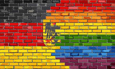 la union hace la fuerza: Pared de ladrillos Alemania y banderas Gay - Ilustración, arco iris y bandera alemana en el ladrillo con textura de fondo, la bandera del grunge abstracto Deutschland y la bandera LGBT