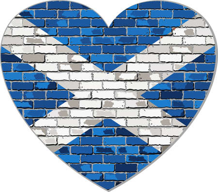scottish flag: Scotland flag on a brick wall in heart shape - Illustration, Scottish flag in brick style,  Abstract grunge Scotland flag