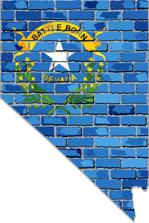nevada: Nevada map on a brick wall - Illustration,   The state of Nevada map with flag inside,  Grunge map and flag state of Nevada on brick textured background,  Nevada flag in brick style Illustration
