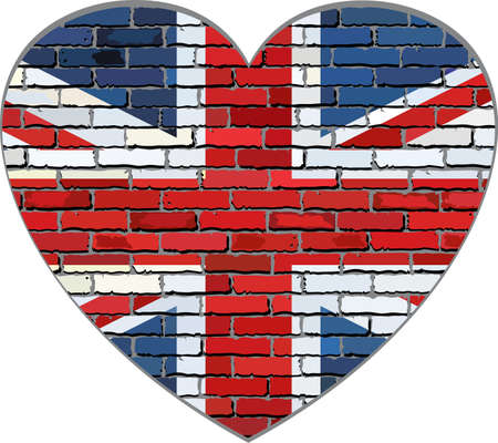 great britain flag: Great Britain flag on a brick wall in heart shape - Illustration, Flag of United Kingdom in brick style,  Abstract grunge United Kingdom flag