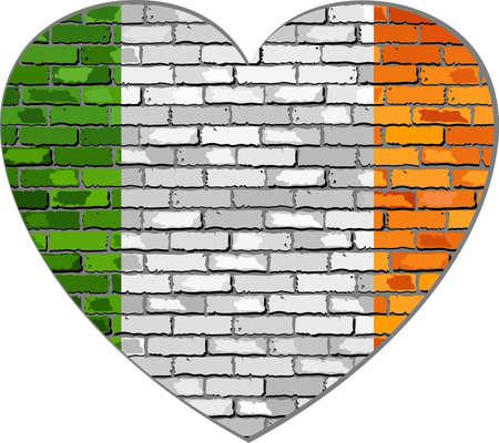 republic of ireland: Ireland flag on a brick wall in heart shape - Illustration, Flag of Irish republic in brick style,  Abstract grunge Ireland flag Illustration