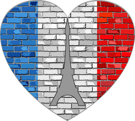 Flag of France on a brick wall in heart shape - Illustration, French flag in brick style, Abstract grunge flag of France and Eiffel Tower