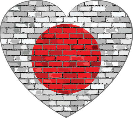 nippon: Flag of Japan on a brick wall in heart shape - Illustration, Japanese flag in brick style,  Abstract grunge Nippon flag