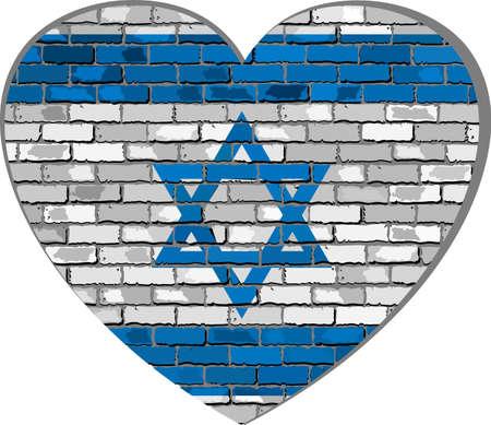 israeli flag: Flag of Israel on a brick wall in heart shape - Illustration, Israeli flag in brick style,  Abstract grunge Israel flag
