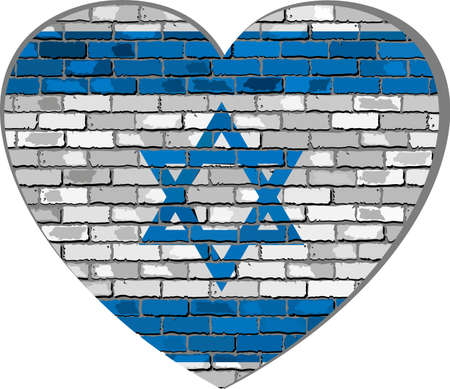 Flag of Israel on a brick wall in heart shape - Illustration, Israeli flag in brick style,  Abstract grunge Israel flag
