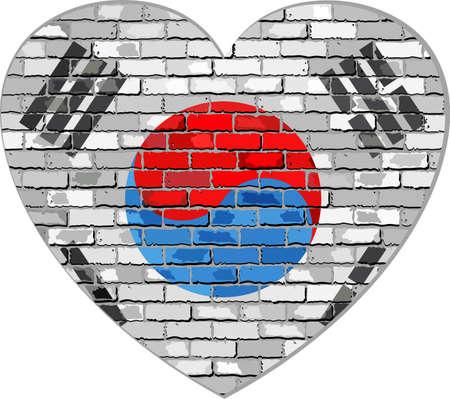 south asian: Flag of South Korea on a brick wall in heart shape - Illustration, Korean flag in brick style,  Abstract grunge Korea flag
