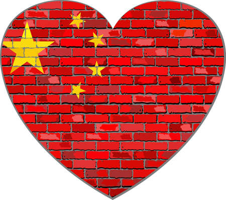 prc: Flag of China on a brick wall in heart shape - Illustration, Chinese flag on brick textured background,  Republic of China flag in brick style,  Abstract grunge mosaic vector