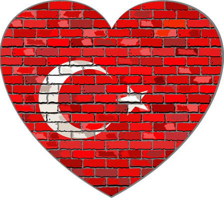 turkish flag: Flag of Turkey on a brick wall in heart shape - Illustration, Turkish flag in brick style,  Abstract grunge Turkey flag Illustration