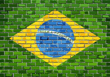 Flag of Brazil on a brick wall - Illustration,  Brazilian flag painted on brick wall, Brazil flag in brick style Illustration