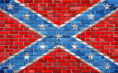 Confederate flag on a brick wall - Illustration, The Blood-Stained Banner on brick textured background,  Grunge abstract flag of the Confederacy