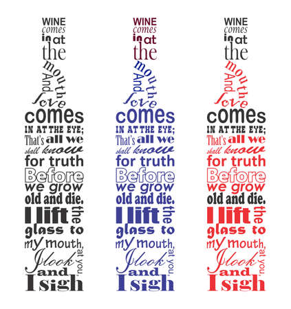 disposition: Wine poem text in the bottle shape,  The secret behind different wine bottle shapes,  A Wine Appreciation Text Illustration