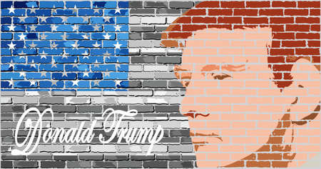 trump: Donald Trump - Illustration, USA flag with Donald Trump inside,  Abstract portrait of Republican Presidential Candidate Donald Trump