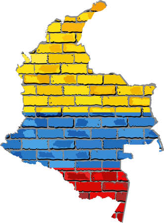 borderline: Colombia map on a brick wall - Illustration,   Colombian map with flag inside,  Grunge map and Colombia flag on a brick wall