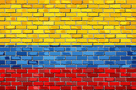 colombian flag: Flag of Colombia on a brick wall - Illustration,  Colombian Flag painted on brick wall, Colombia flag in brick style